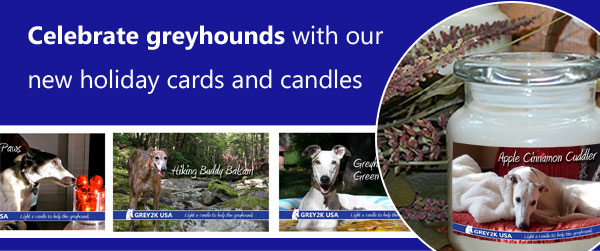 Celebrate greyhounds with our new holiday cards and candles