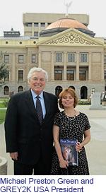 Michael Preston and GREY2K USA president Christine Dorchak