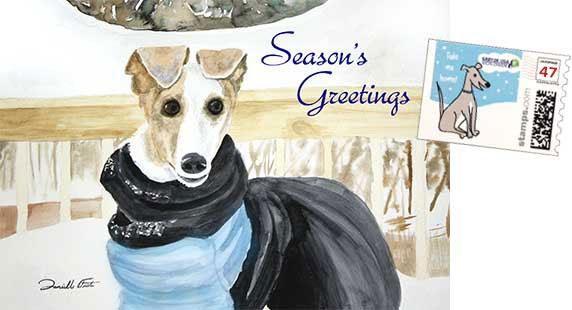 Seasons Greetings card with stamp