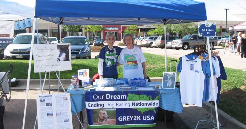Katherine and Pam host a GREY2K USA table at a dog expo in Colorado.
