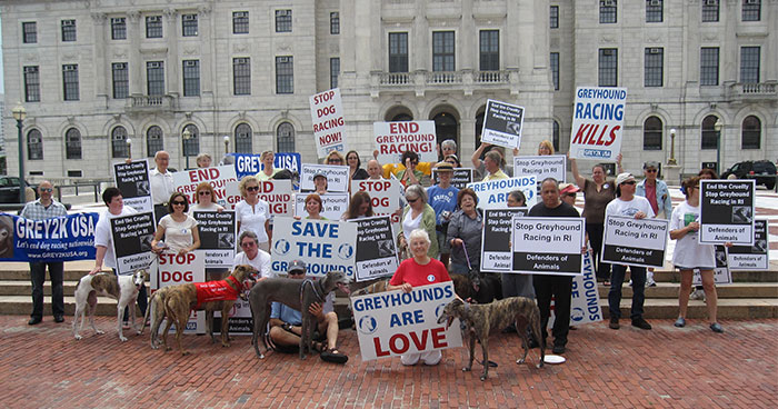 Volunteers rally for the end of greyhound racing in Rhode Island in 2009