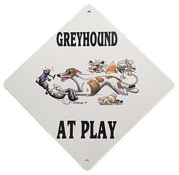 GREYHOUND AT PLAY sign
