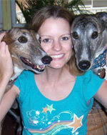 Kelly with greyhounds
